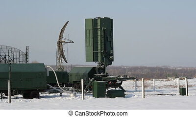 Green military radar rotates. HD H.