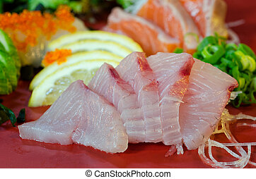 Sashimi - A dish of assorted sashimi - Japanese food