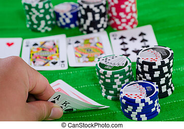Texas Hold 'Em Big Hand - Illustration of a biggest possible...