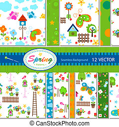 12 vector patterns (seamless) - 12 vector spring patterns;...
