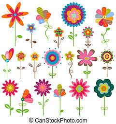 retro flowers - retro fantasy flowers set