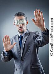 hombre de negocios, cegado, dinero
