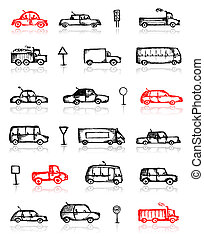 Set of cars sketch and traffic signs for your design