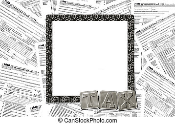 Income Tax frame - Black business frame on income tax...