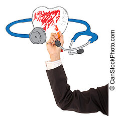a stethoscope and a heart on a white background