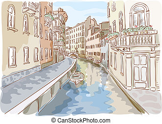 Venice. Watercolor style. Vector illustration.