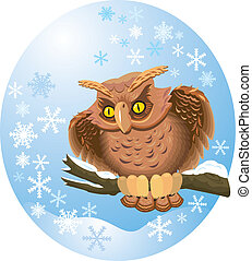 cute own on branch in winter oval frame with snowflakes