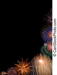 Colorful fireworks half border - Collage - beautiful...