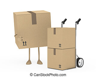 package figur and hand truck - package figur shows finger on...