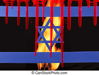The pain - A israel flag by fire flames and traces of blood