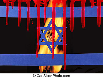 The pain - A israel flag by fire flames and a screaming...
