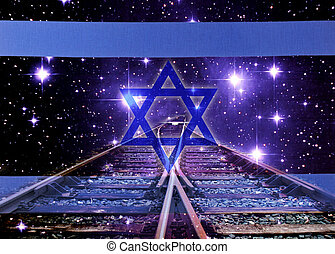 Shadow of Death - A israel flag with railway by night
