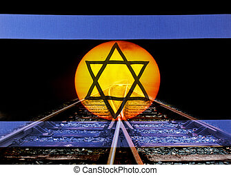 Shadow of Death - A israel flag with railway by sunset