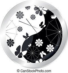 flowed button with jaran parasol and flowers