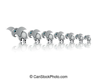 Elefants for happy - Seven grey Elefants for happy in line
