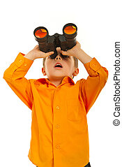 Surprised boy with binocular - Surprised boy looking up...