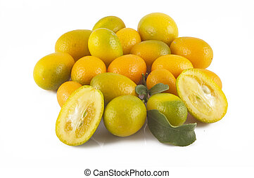 Cumquat or kumquat isolated on white background