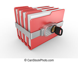 Private documents folder - Blue computer folder with digital...