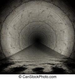 sewerage - An image of a dark wet sewerage