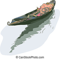 Gondola Watercolor style Vector illustration