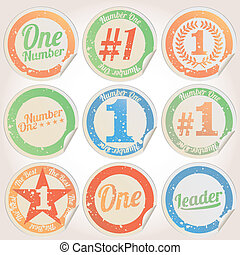 Vector badges, number 1 grunge - Vector badges, certificates...