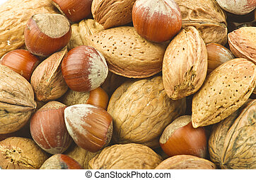 Mix nuts close up background