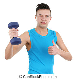 guy with dumbell