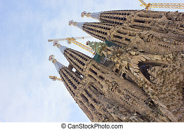 Sagrada Familia, Barcelona, Spain - facade of birth of...