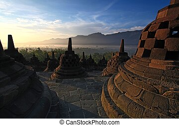 Borobudur Temple Stupa Indonesia - Sunrise Borobudur Temple...
