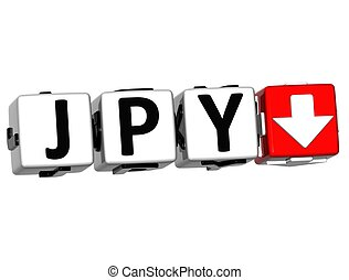Currency JPY rate concept symbol button on white background