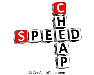 3D Get Speed Test Cheap Crossword on white background