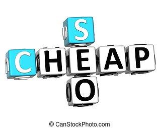 3D Cheap Seo Crossword on white backgrond