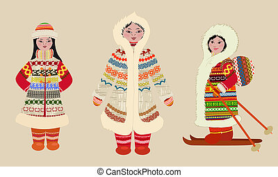 Female northern people in costumes