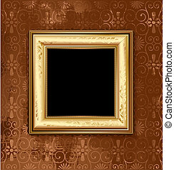 Golden picture frame on the grunge wall