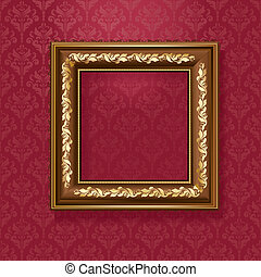 Golden picture frame on the wall of vintage wallpaper