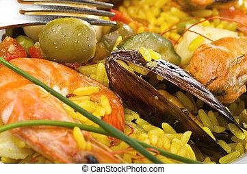 plato, cierre, mariscos, arroz, Arriba
