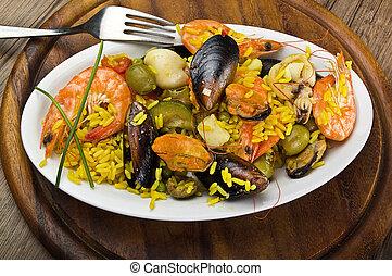 arroz, mariscos, cierre, Arriba, plato