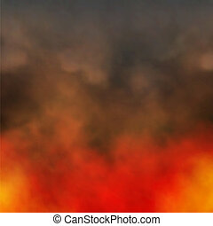 Fire and smoke - Editable vector illustration of dense smoke...