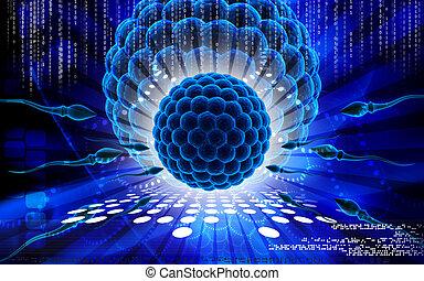Sperm - Digital illustration of sperm in colour background...