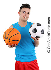 Guy holding a football and basketball