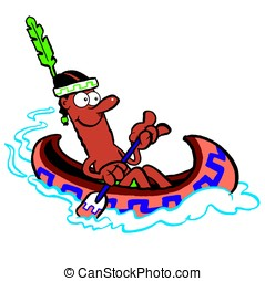 Brave.WBG - Canoeing cartoon American indian brave. Isolated...