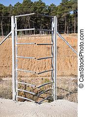One-way deer gate - Frontal view of one-way deer gate...