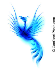 Phoenix - Raster version. Burning blue phoenix isolated over...