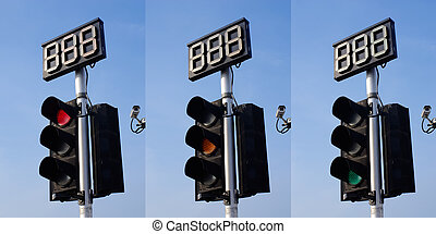 Traffic Light and Countdown Sign - 3 Step of Traffic Light...