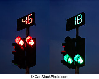 Traffic Light and Countdown Sign - Traffic Light Red and...