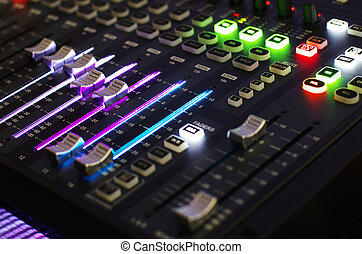 Sound Mixer with Operating Light - Main Mixer Board of Sound...