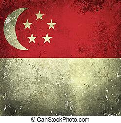 Grunge flag of Singapore