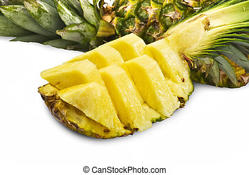 Pineapple sliced on the white background