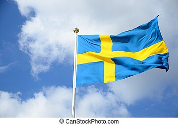 Swedish flag - a swedish flag against blue sky