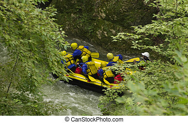 White water rafting on the rapids of Marmore Italy
